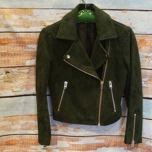 NWOT Topshop Forest Green Leather Moto Jacket Sz 2